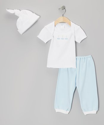 White & Light Blue Sailboat Tee Set
