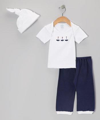 White & Navy Sailboats Lap Neck Tee Set