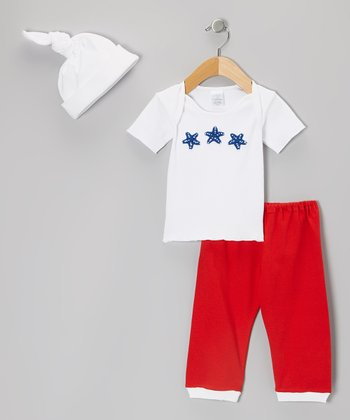 White & Navy Starfish Lap Neck Tee Set