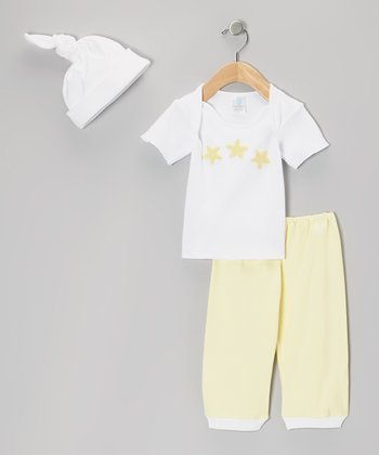White & Yellow Starfish Tee Set