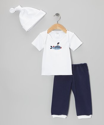 White & Navy Submarine Lap Neck Tee Set