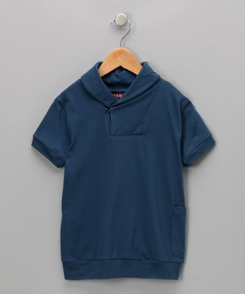 Military Blue Shawl-Collar Top - Infant, Toddler & Boys