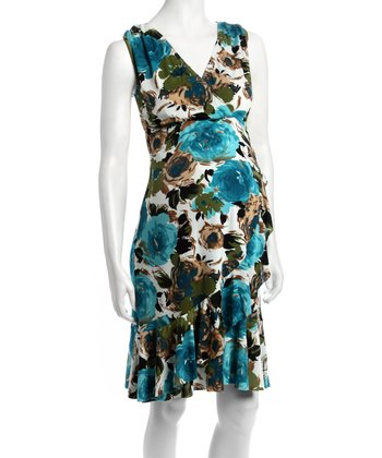 Blue Floral Carmelita Bamboo Maternity & Nursing Dress