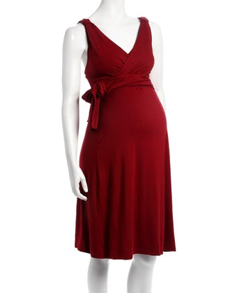 Maroon Elle Maternity & Nursing Dress - Women