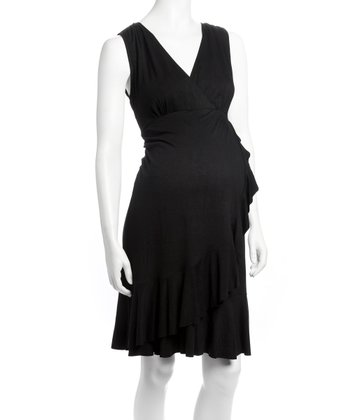 Black Carmen Surplice Maternity & Nursing Dress - Women