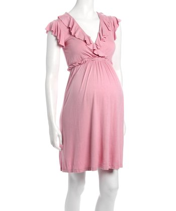 Dusty Pink Ruffle Kate Maternity & Nursing Dress