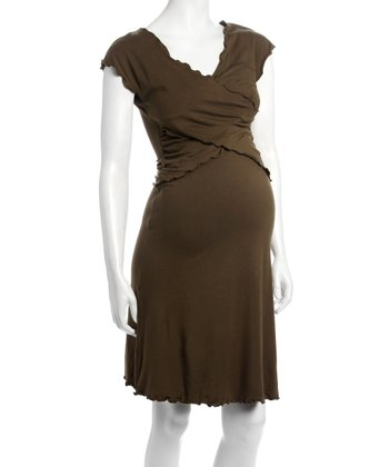 Golden Olive Chantel Maternity & Nursing Dress