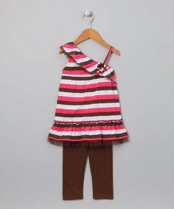 Coral & Brown Stripe Tunic & Leggings - Toddler