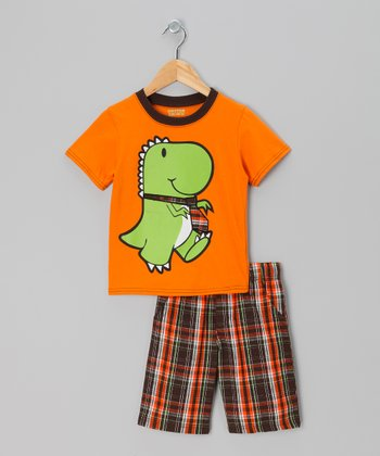 Orange Dino Tee & Red Plaid Shorts - Infant