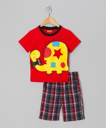 Red Dino Tee & Plaid Shorts - Infant