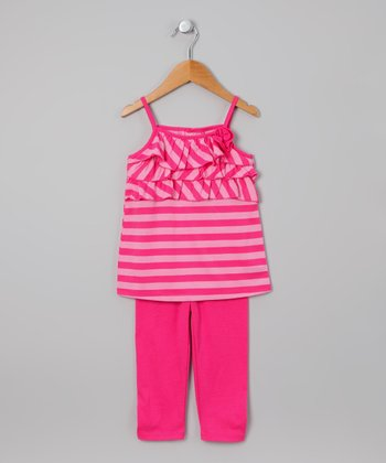 Fuchsia & Pink Stripe Tunic & Leggings - Toddler & Girls
