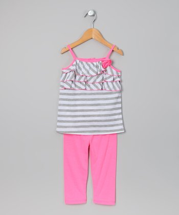 Gray & White Stripe Tunic & Leggings - Toddler