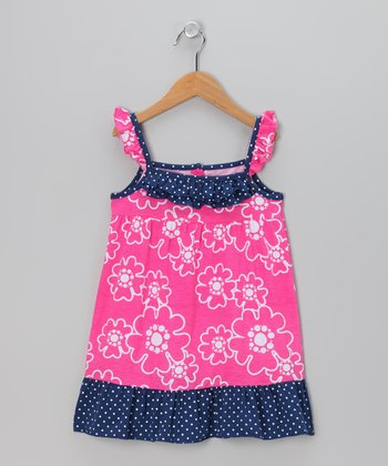 Navy & Fuchsia Flower Dress - Toddler & Girls