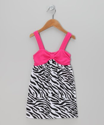 Fuchsia & Black Zebra Bow Dress - Toddler & Girls