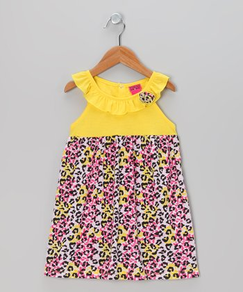 Yellow & Pink Leopard Ruffle Dress - Infant, Toddler & Girls
