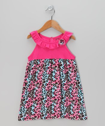 Fuchsia & Aqua Leopard Ruffle Dress - Infant, Toddler & Girls