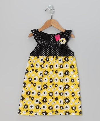 Yellow & Navy Dandelion Ruffle Dress - Infant, Toddler & Girls