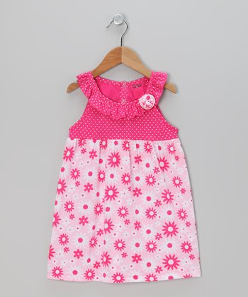 Fuchsia Flower Ruffle Dress - Infant, Toddler & Girls