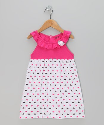 Fuchsia & Black Heart Ruffle Dress - Infant, Toddler & Girls