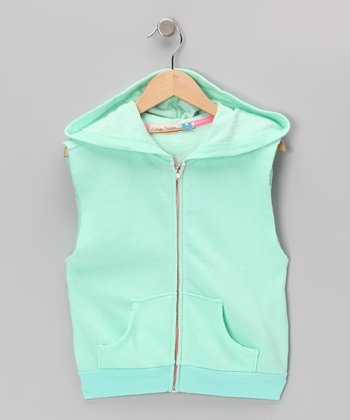 Mint Zip-Up Sleeveless Hoodie
