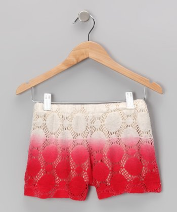 Crème & Red Crochet Shorts