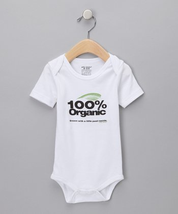 White '100% Organic' Bodysuit - Infant