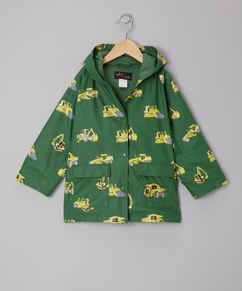 Green Construction Raincoat - Infant, Toddler & Kids