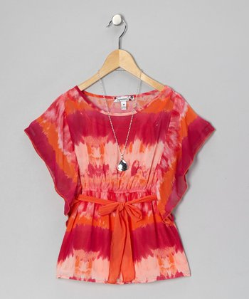 Fuchsia & Orange Tie-Dye Cape-Sleeve Top