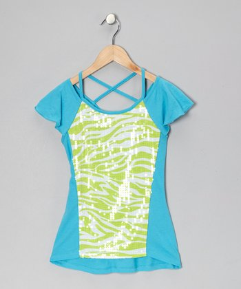 Lime & White Sequin Zebra Top
