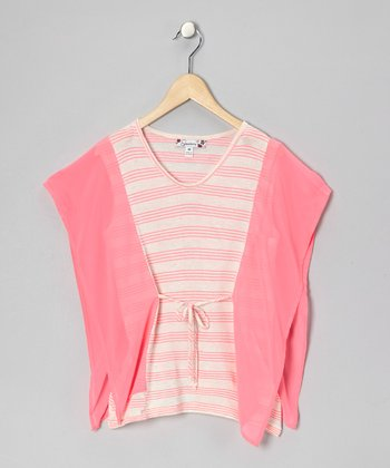 Pink Stripe Angel-Sleeve Top