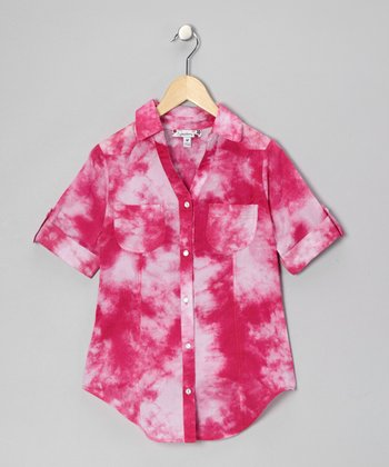 Fuchsia Tie-Dye Button-Up