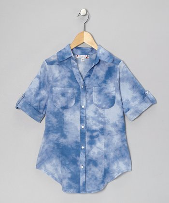 Navy Tie-Dye Button-Up