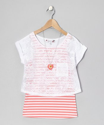 White & Coral Stripe Crocheted Layered Top