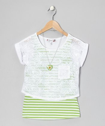 White & Lime Stripe Crocheted Layered Top