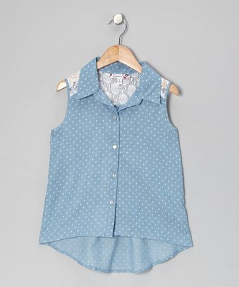 Light Blue Polka Dot Chambray Button-Up