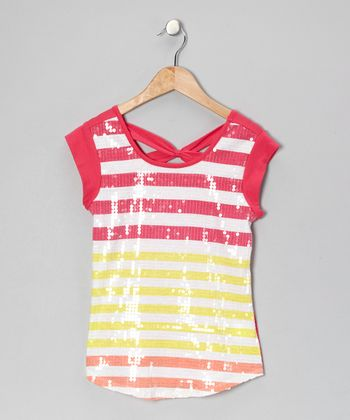 Pink Sequin Stripe Cap-Sleeve Tee