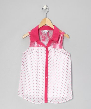 White & Fuchsia Polka Dot Button-Up
