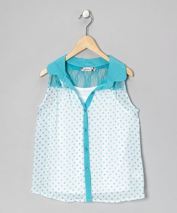 White & Turquoise Polka Dot Button-Up