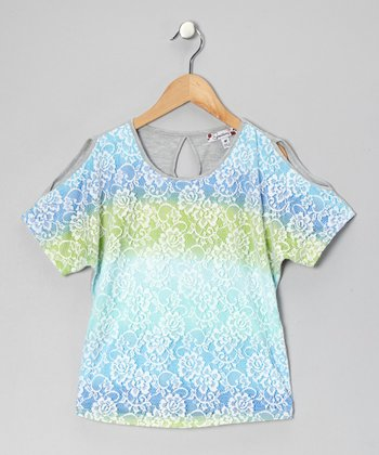 Blue & Lime Ombré Lace Top
