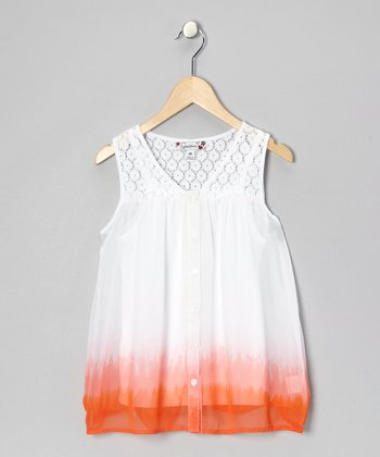 White & Orange Lace Button-Up & Tank