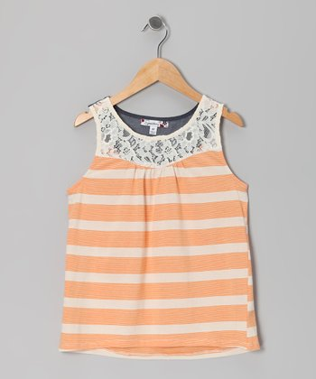 Orange Stripe Lace Crochet Tank