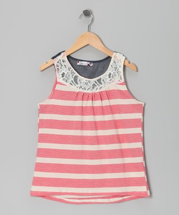 Watermelon Stripe Lace Crocheted Tank