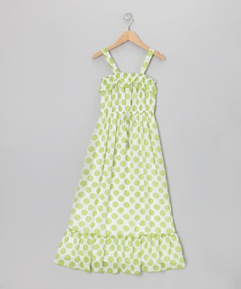 Lime & White Polka Dot Maxi Dress - Girls