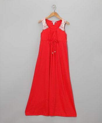 Coral Crochet Maxi Dress - Girls