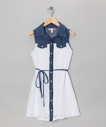 White Lace & Denim Button-Up Dress