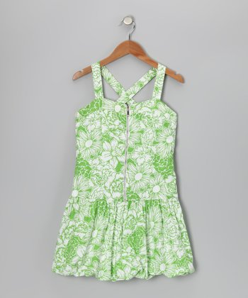White & Lime Floral Dress