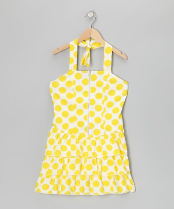 White & Yellow Polka Dot Halter Dress