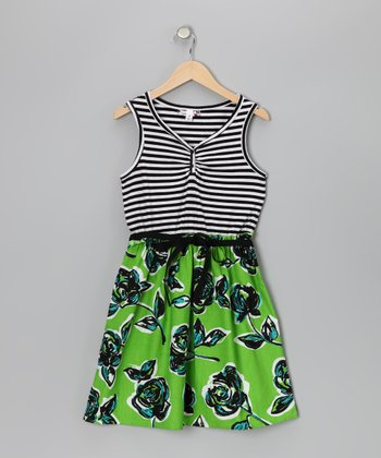 Lime & Black Stripe Floral Dress - Girls