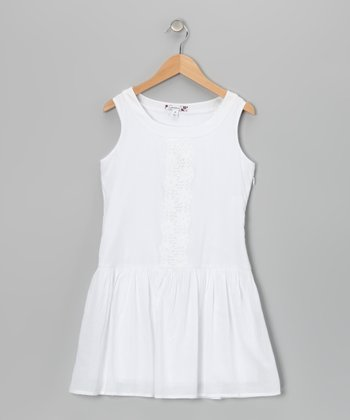 White Drop-Waist Dress - Girls