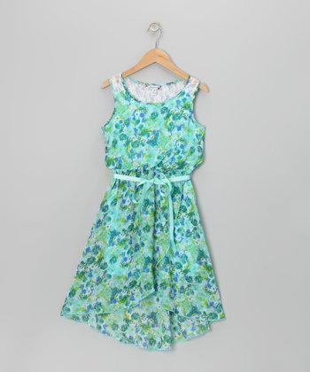 Turquoise & Lime Floral Chiffon Dress